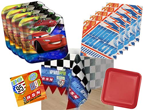 Disney Cars Lightning McQueen Plates and Napkins Party Supplies for 16 Guests