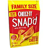 Cheez-It Snap'd, Cheesy Baked Snacks, Double Cheese, Family Size, 12oz Bag(Pack of 5)