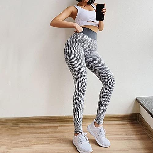 Mujer Feeling Leggings Deportivas,Pantalones de Yoga de Culturismo de Nido de Abeja, Pantalones Deportivos Ajustados de Cintura Alta-Rojo_XS,Fitness Yoga Leggings