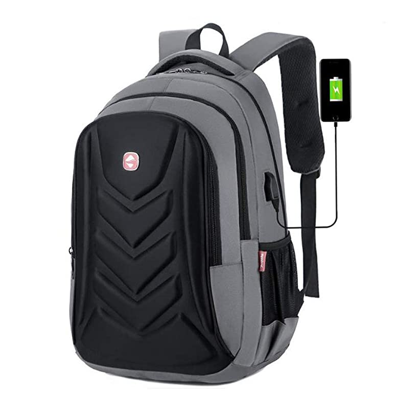 Kredy Laptop Backpack Travel Business Sport Backpack Notebook Book School Bag with USB Charging Port Fits to 15.6 inch Laptop Lightweight Water-Resistant for College Office Student Work Men&Women