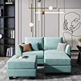 HONBAY Convertible Sectional Couch Modular Sofa with Reversible Chaise Sectional Sofa Set with Storage, Aqua Blue