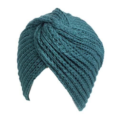 MEISHU Costume Nazionale con Cappuccio Incrociato Incrociato con Cappelli di Lana Invernali da Donna (Verde)