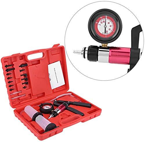 Sxspace Manuelle Vakuumpumpe, Handdruckprüfgerät, Druckprüfgerätsatz für Bremsentleerungswerkzeug mit Adaptern