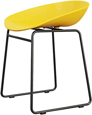 Chair Restaurant Dining Chair Creative Lounge Chair Makeup Chair Wrought Iron ins Color Stool (Color : Yellow, Size : 44 * 43