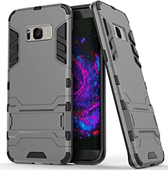 Galaxy S8 Plus Case Awesome Armor Foldable Movie Back Stand Slim Cover TAITOU New Ultra Hybrid 2 In 1 Thin Anti Drop/Scratch Warrior Protect Phone Case For Samsung Galaxy S8Plus Gray