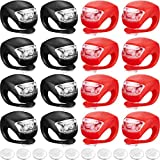 Mudder 16 Pieces Bicycle Light Front and Rear Silicone LED Bike Light Set Bike Headlight and Taillight Multi-Purpose Waterproof Bike Light Road Mountain Bike Lights and 10 Extra Batteries Included