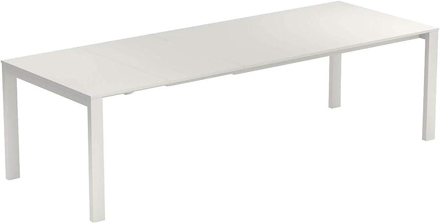 Amazon De Round Gartentisch Ausziehbar Weiss Stahl Pulverbeschichtet Lxbxh 160x100x75cm Ausziehbar Auf 214 Und 268 Cm