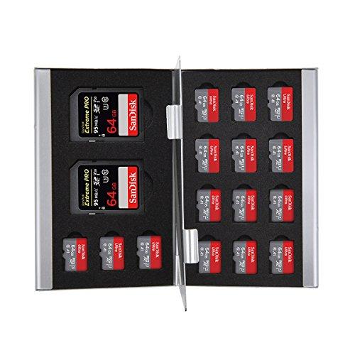 Koning van Flash Zilver Aluminium 2 x SD/SDHC Geheugenkaart 15 x Micro SD SDHC Kaarten Houder Draagtas