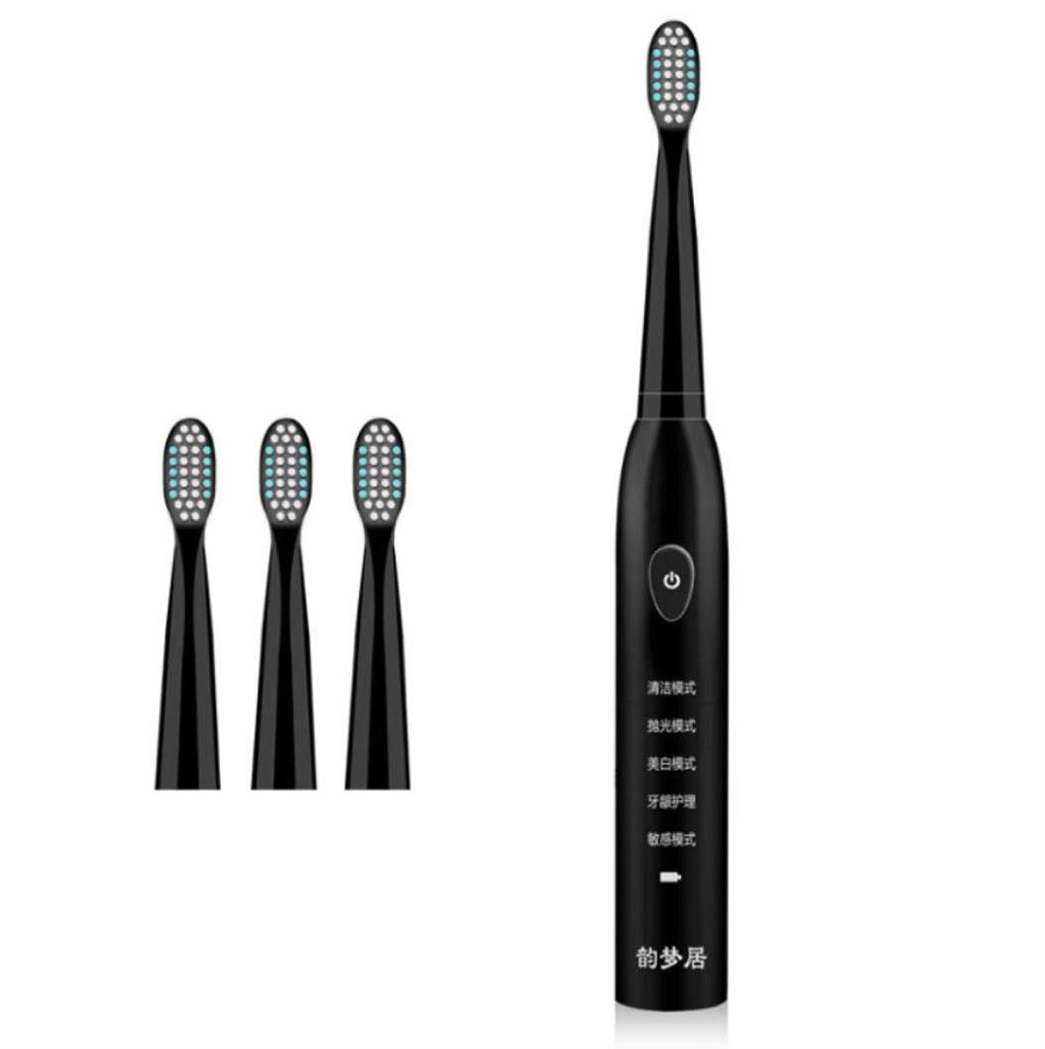 用語集解釈的いらいらする4つの取り替えのブラシヘッドUSBが付いている電気歯ブラシは5つのモードを満たしました音波のクリーニングを達成します,Black