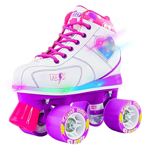 Crazy Skates Flash Roller Skates for Girls - Light Up Skates with Ultra Bright LED Lights and Flashing Lightning Bolt - White Patines