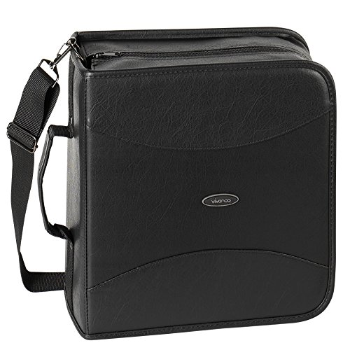 Vivanco PRO CDK 320 - Funda de piel sintética para CD (hasta 320 CD), color negro ⭐