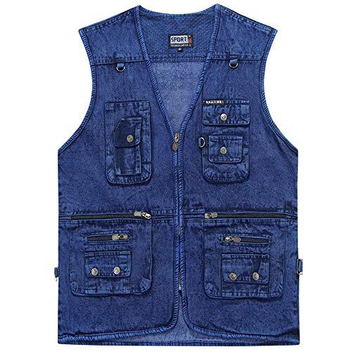 XFentech Casual Homme Pêche Gilet - Denim Photographie Veste Multi-Poches, Bleu, EU 3XL=Tag 4XL