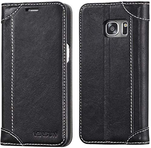 LENSUN Samsung Galaxy S7 Hülle, Handyhülle Handytasche Samsung Galaxy s7 (5.1 Zoll) Leder Tasche Huelle Flip Hülle Ledertasche Schutzhülle - Schwarz(S7-DX-BK)