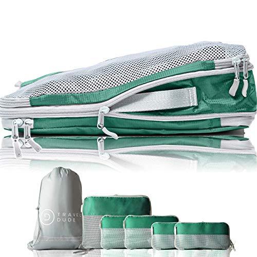 TRAVEL DUDE Packwürfel Set mit Kompression | Packing Cubes | Packtaschen Set & Gepäck Organizer für Rucksack & Koffer | Extra leichte Kleidertaschen | Olivgrün, 7-teilig