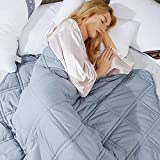 Adult Weighted Blanket with Cover (51'x75' 13lbs)| Soft Premium Glass Beads Heavy Blanket Individual 130-155lbs (Blue)