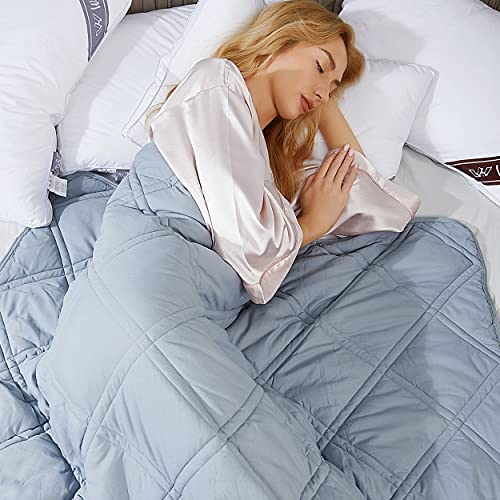 Winthome Gewichtsdecke,150x205cm 10.4kg Therapiedecke Mit Bettbezug Anti Stress Weighted Blanket für Erwachsene Kinder Schwere Decke