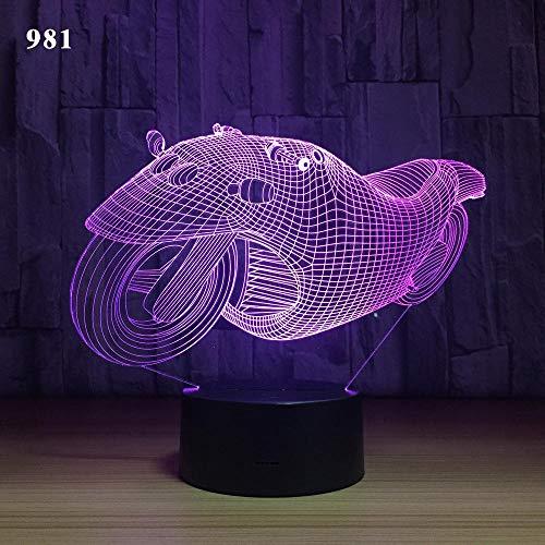 Harley motocicleta Auto Bike Speed Sport locomotora truco 3D lámpara de mesa Led novedad decoración luz nocturna niño niños regalo