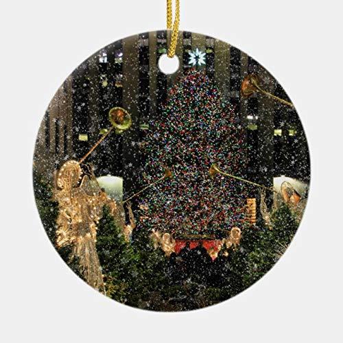 McC538arthy New Home Christmas Ornament NYC Rockefeller Center Xmas Tree Falling Snow New House Ornaments Ceramic Keepsake Housewarming Gift 3''