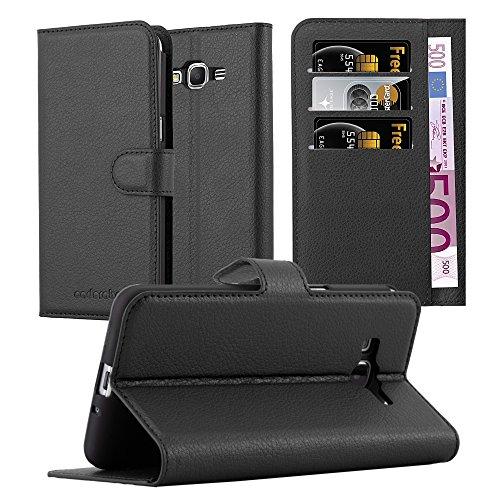Cadorabo Hülle für Samsung Galaxy Grand Prime - Hülle in Phantom SCHWARZ – Handyhülle mit Kartenfach & Standfunktion - Hülle Cover Schutzhülle Etui Tasche Book Klapp Style