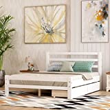 Full Bed Frame with Drawers, Kids Platform Full Bed with Storage, Solid Wood, No Box Spring Needed (White,Full)