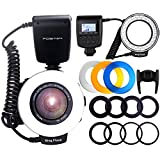 FOSITAN RF-550D 48 LED Macro Ring Flash Fotografia con Display a Cristalli Liquidi 6 Adatt...