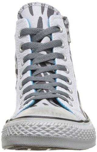 Converse All Star HI Side ZIP Canvas 143763C - Zapatillas de tela para mujer, color azul, talla 36, Oyster Gray/Castlerock Zebra D, 36.5