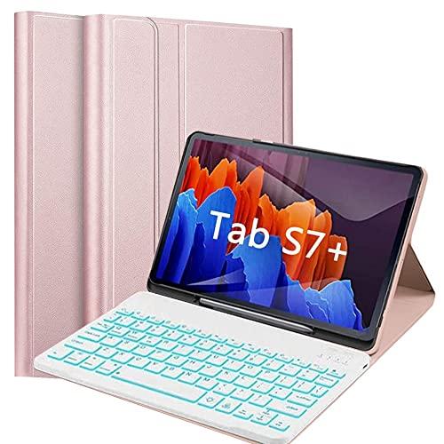 QYiiD Funda con Teclado para Galaxy Tab S7+/S7 Plus (12.4 Pulgadas) con S Pen Holder, [7 Colores Retroiluminado] Funda Delgada con Teclado inalámbrico Desmontable para SM-T970/T975/T976, Oro Rosa