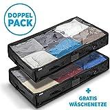 Muvino  Unterbettkommode - Unterbett Aufbewahrungstasche für Decken und Kissen - mit sechs Griffen - 100l Fassvolumen - inklusive Zwei Wäschesäcken
