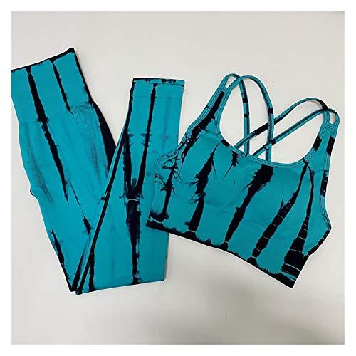 LSTGJ Teñido Conjunto De Yoga Inconsútil Gimnasio Ropa Deportiva Ropa Deportiva Cintura Alta Gimnasia Leggings Trajes Deportivos Jogging (Color : Type B Blue, Size : L.)