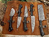 Custom made hand forged Damascus steel full tang blade kitchen knife set, Overall 45 inches Length of Damascus sharp knives (10.6+9.6+9.0+8.0+7.6) Inches, Leather suede sheath (Bull horn)