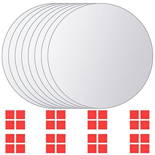 vidaXL 8-TLG. Spiegelfliese Set Rund Glas Badspiegel Wandspiegel Dekospiegel