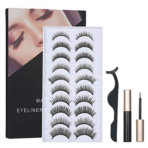 Faux Cils Magnétique, Anself 10 Paires Cils Magnetique Naturel + 2 Eyeliner Magnetique + 1 Pince, Réutilisable 5 Aimants 3D Faux Cils, Imperméable Kit de Cils Magnétiques