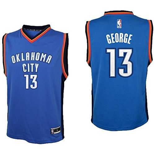 Outerstuff Paul George Oklahoma City Thunder #13 Blue Youth Road Replica Jersey Small 8