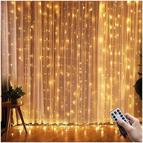 Greatever Lichtervorhang, 300 LEDs Lichterkettenvorhang 3M*3M IP65 Wasserfest 8 Modi Lichterkette Warmweiß für Weihnachten Party Schlafzimmer Innen & außen Deko