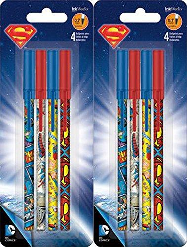 Superman Stick Ballpoint Pens - Writing or School Supplies, Set of 8
