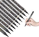 GOLDGE 10 Stück Kalligraphie Stifte 4 Größen Schwarze Fasermaler Stifte mit 2 Stück Tinte für Schreiben Zeichnen und Anfänger Tagebuch
