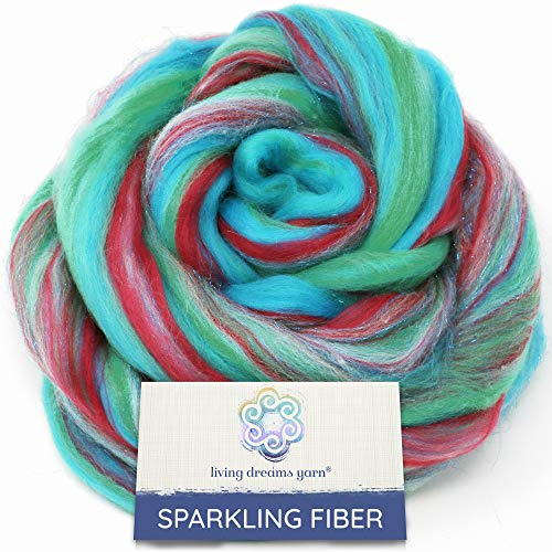 SPARKLE, GLITZ and GLAM: Colorful Merino with Shimmering Stellina Highlights. Super Soft Fiber for Spinning, Felting and Blending. Sparkling Mermaid