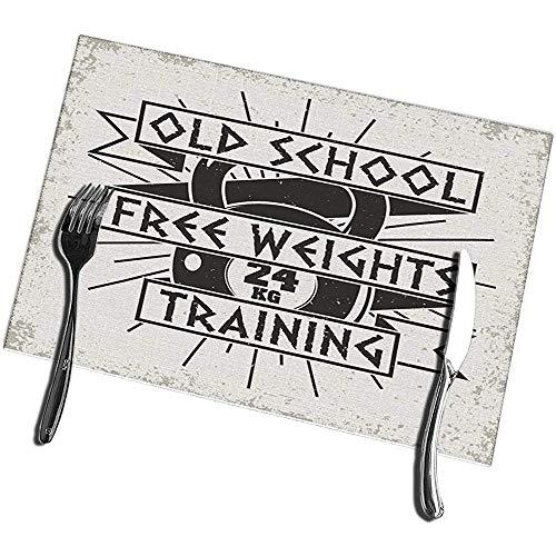 Beryl Shop Tischsets für den Esstisch 6er-Set Vintage Grange Stamp Fitness Emblem Fitnessstudio Sport Logo Waschbar Leicht zu reinigender Tischset