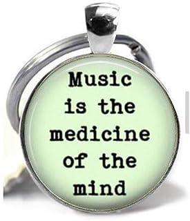 "Colgante musical con frase en inglés""Music is Medicine"", regalo para un profesor de música, regalo para un músico, llavero..."