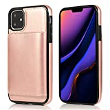 FQIAO US Leather iPhone 11 Case, Rose Wireless Charging 3