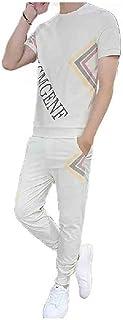 MogogN Mens Plus Size Short Sleeve Flower Print 2 Piece Set Long Pants Set