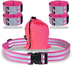 FREEMOVE Reflective Running Gear - Run Relaxed with High Visibility Reflective Belt and Arm Bands - Adjustable Fit Stays in Place – Stay Safe Day or Night - Dog Walking, Cycling, Jogging, Biking