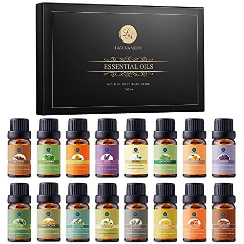 Lagunamoon Essential Oils Gift Set 16 x 10mL Essential Oils for Diffuser Humidifier Massage Aromatherapy Essential Oils - Lavender, Tea Tree, Lemon, Orange, Peppermint, Rosemary, Lemongrass