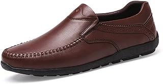 2018春秋レザーシューズ、レジャー通気性怠惰靴、ウォーキングシューズ、ノンスリップスポーツシューズ (Color : 褐色, Size : 43)