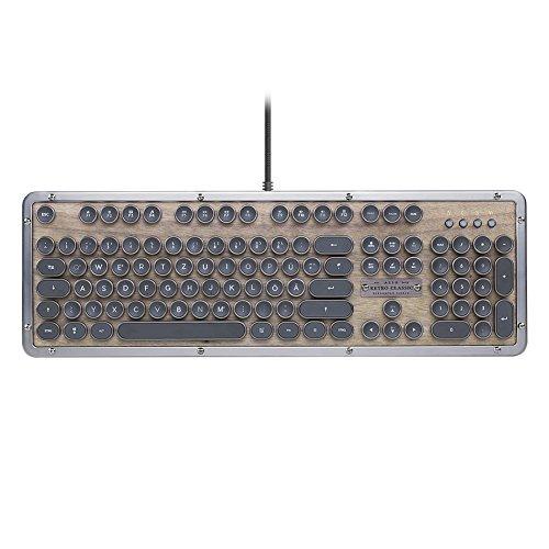 Azio Retro Mechanische Gaming Tastatur QWERTZ Deutsch mit Beleuchtung USB Kabel für Windows PC (Schwarz mit Holz)