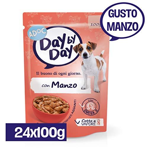Adoc Day By Day - Alimento Completo per Cani Adulti con Manzo, 24 bustine da 100gr