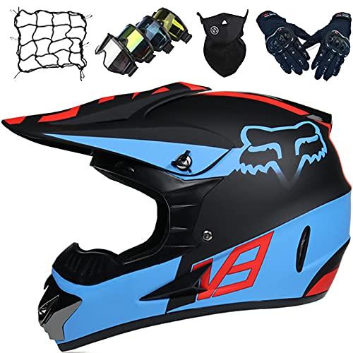 Casco Moto Niños, Casco Motocross Profesional, Conjunto de Casco de Descenso para Adultos (5 piezas) Cascos de Protección Unisex para Motocicleta MTB ATV MX - con Diseño Fox - Azul