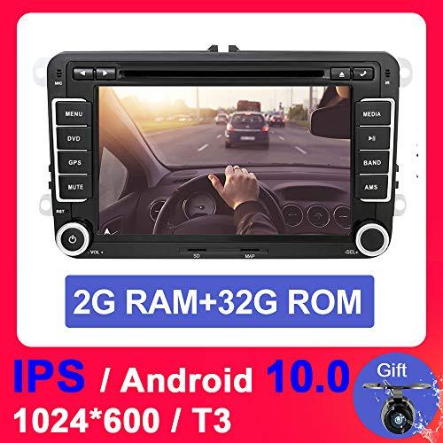 Eunavi 2 Din Android 10.0 2G RAM + 32G ROM Car Audio Reproductor de DVD del coche Pantalla de 7 pulgadas GPS Radio Pantalla del coche para VW GOLF 6 Polo Bora JETTA B6 PASSAT Tiguan SKODA OCTAVIA