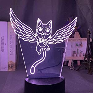 3D Illusion Lamp Led Night Light Fairy Tail Cat Happy Fly Figure for Kids Bedroom Decor Touch Sensor Color Changing Desk Lamp Anime Party Home Holiday Gifts