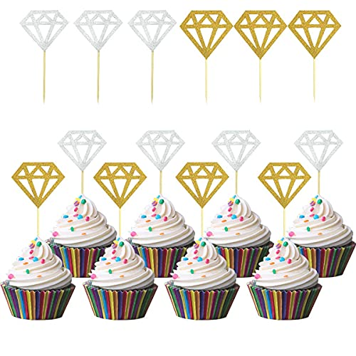 60 Pack Glitter Diamond Cupcake Toppers for Bridal Shower Engagement Wedding Party Birthday Diamond Ring Topper for Donuts Diamond Donut Picks Cake Decorations Dessert Supplies (Silver + Gold)